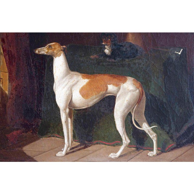 Tan Early 19th Century English Whippet Oil Painting For Sale - Image 8 of 13
