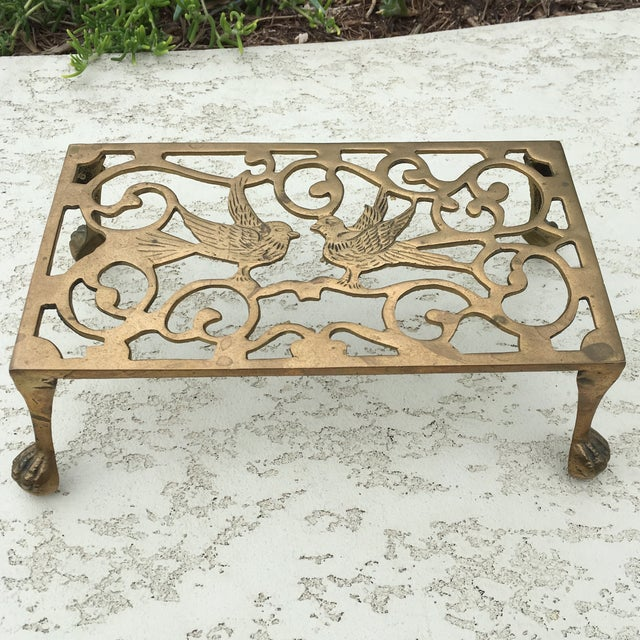 Mid-Century Solid Brass Bird Motif Plant Stand - Image 2 of 11