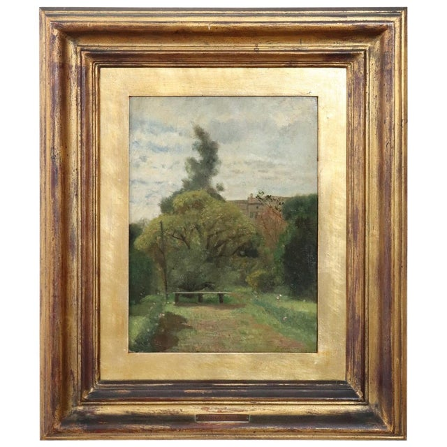Green 19th Century Important Italian Artist Oil Painting on Canvas Landscape For Sale - Image 8 of 8