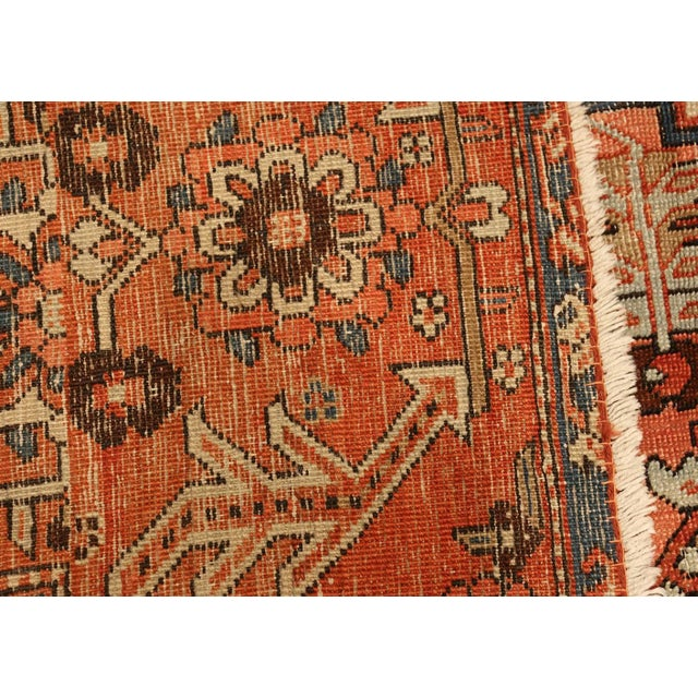 Antique Serapi Persian Ivory Rug - 11′ × 12′6″ For Sale - Image 4 of 10