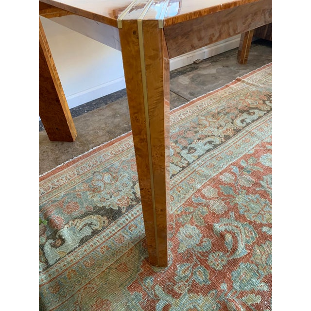 Metal 1970s Vintage Burlwood and Glass Dining Table For Sale - Image 7 of 13