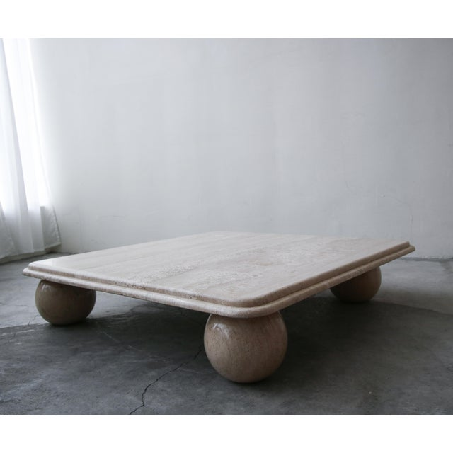 Post Modern Square Low Profile Travertine Coffee Table Round Ball Legs For Sale - Image 4 of 6