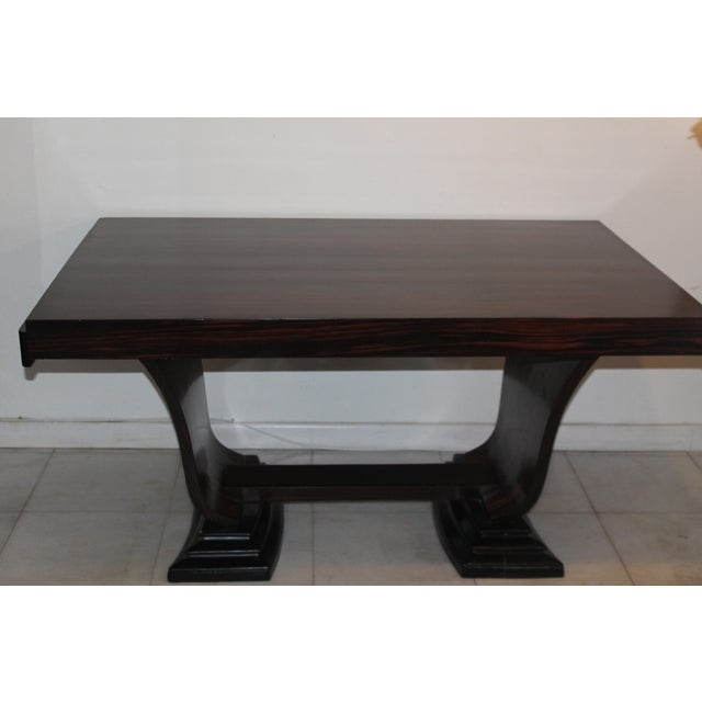 C 1930's French Art Deco Exotic Macassar Ebony Dining Table For Sale - Image 11 of 12