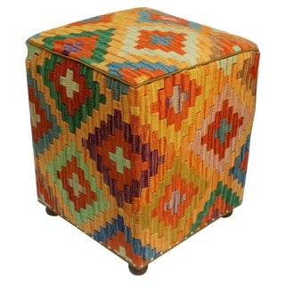 Arshs Craig Orange/Rust Kilim Upholstered Handmade Ottoman For Sale