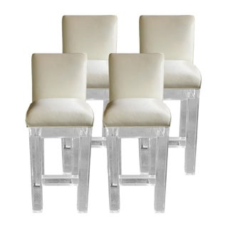 Lucite & Leather Bar Stools - Set of 4
