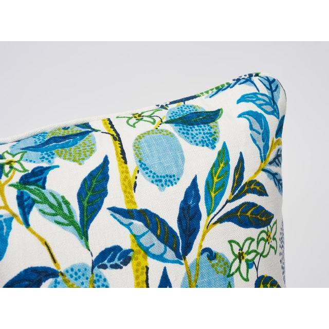 Boho Chic Schumacher Double-Sided Pillow in Citrus Garden Pool Blue Linen Print For Sale - Image 3 of 8