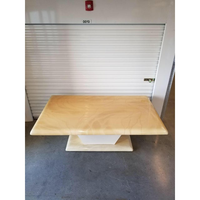 1970s Mid-Century Modern Karl Springer Style Faux Goat Skin Dining Table For Sale - Image 10 of 11