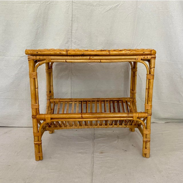 Mid-Century Modern Vintage Rattan Wicker Side Table With Magazine Shelf For Sale - Image 3 of 13