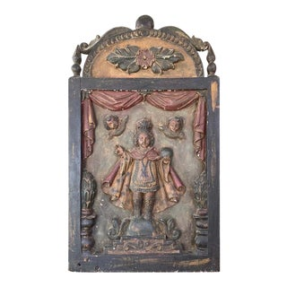 Infant Jesus of Prague Hand Carved and Painted Wood Plaque, Early 19th Century For Sale