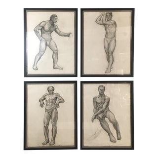 C. 1930 Framed Male Figure Study Drawings - Set of 4