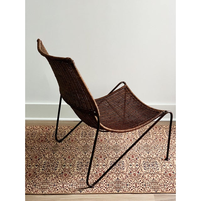 Wicker and Iron Lounge Chair For Sale - Image 4 of 9