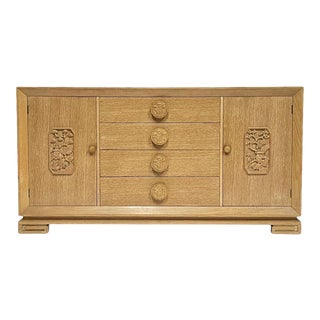 James Mont Attributed Regency Chinoiserie Cerused Oak Bureau Sideboard Dresser For Sale