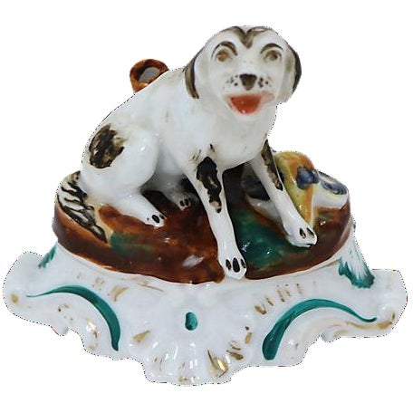 Early 19th-C. English Porcelain Dog Inkwell For Sale