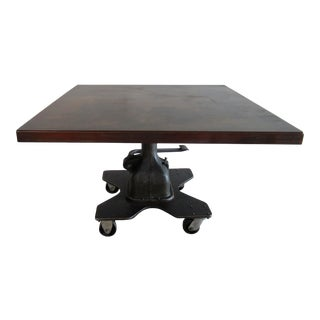 """1950s Vintage Industrial Steel & Cast Iron Tool and Die """"Pump"""" Pedal Base Oversized Dining Table For Sale"""