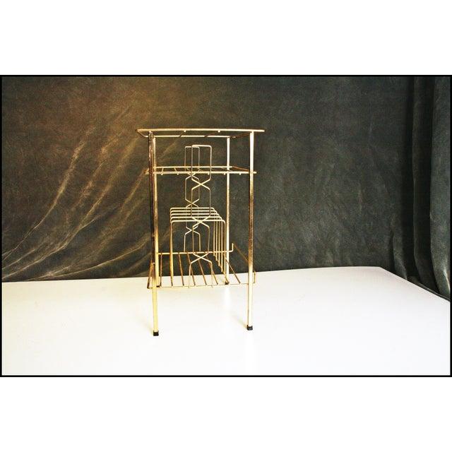 Mid-Century Modern Gold Record Rack - Image 3 of 11