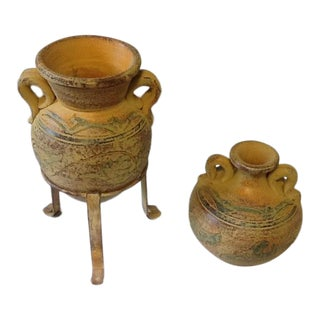 Amphora Pottery Vase in Metal Stand & Matching 2-Handled Jug - Set of 3 For Sale