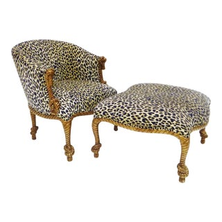 Napoleon III Style Giltwood Rope-Twist Armchair and Ottoman - A Pair For Sale