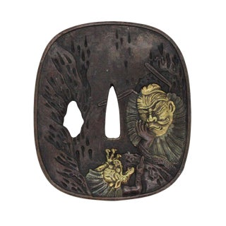 Bronze Quality Handcrafted Japanese Rectangular Shape Tsuba With Warrior and Dragon For Sale