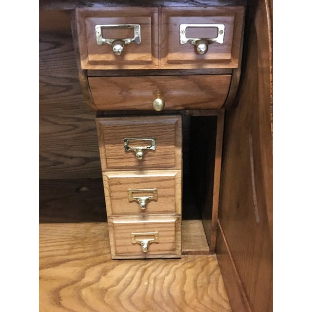 Large Solid Oak Roll Top Desk - Image 8 of 10