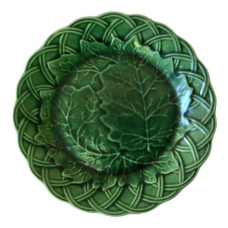 1880 French Green Majolica Leaves Plate For Sale