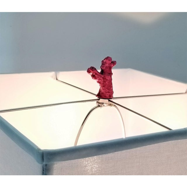 Vintage Pink Coral Resin Lamp With White Shade and Coral Finial For Sale - Image 12 of 13