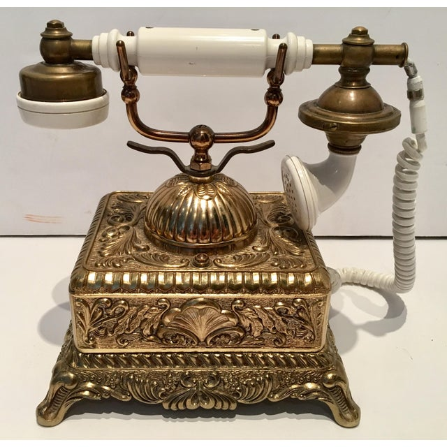 Vintage French Style Brass Telephone For Sale - Image 5 of 7