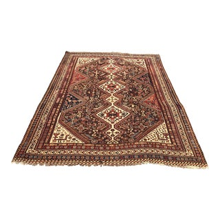 "1920's Qashqai Oriental Wool Rug - 5'6"" X 9'2"" For Sale"
