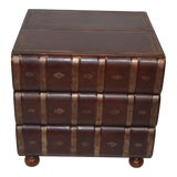 Image of Figurative Walter E Smithe Stacked Leather Books Side Table For Sale