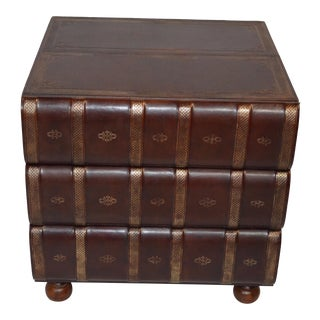 Figurative Walter E Smithe Stacked Leather Books Side Table For Sale