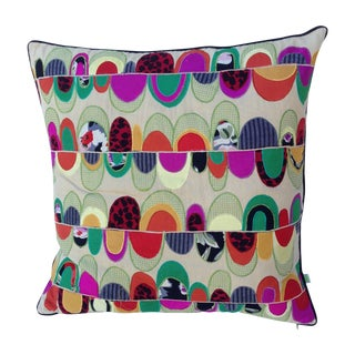 Colorful Embroidered Patchwork Pillow For Sale