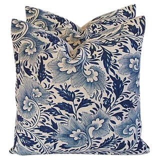 "Blue Floral Linen Down/Feather Pillows 20"" Square - Pair For Sale"