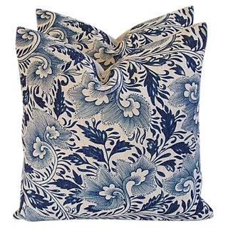 Blue Floral Linen Down/Feather Pillows - a Pair