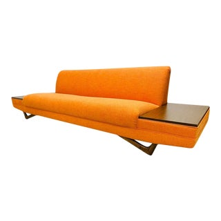 Mid Century Modern Adrian Pearsall Style Orange Tweed Platform Sofa With Built-In End Tables For Sale