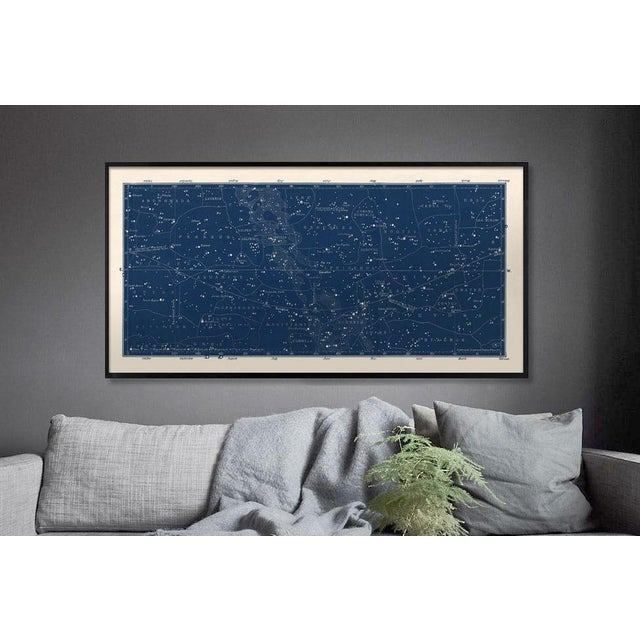 This very wide format print is based on a restored and very rare Antique German Constellation Map from 1849, and has bold...