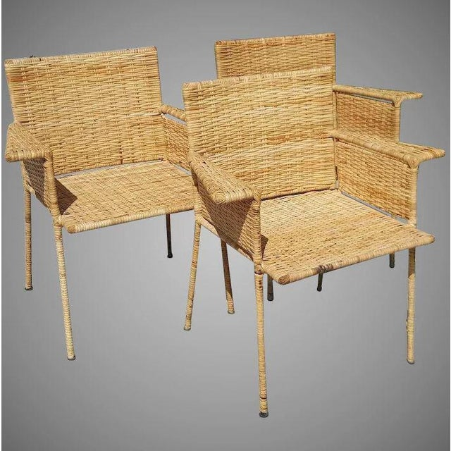 Van Keppel and Green Wicker and Wrought Iron Chairs - Set of 3 For Sale - Image 11 of 11