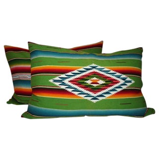 Pair of Monumental Serape Bolster Pillows For Sale