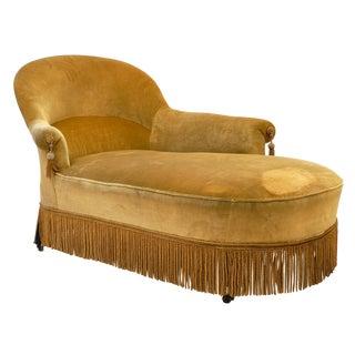 Gold Velvet Vintage Chaise Lounge For Sale