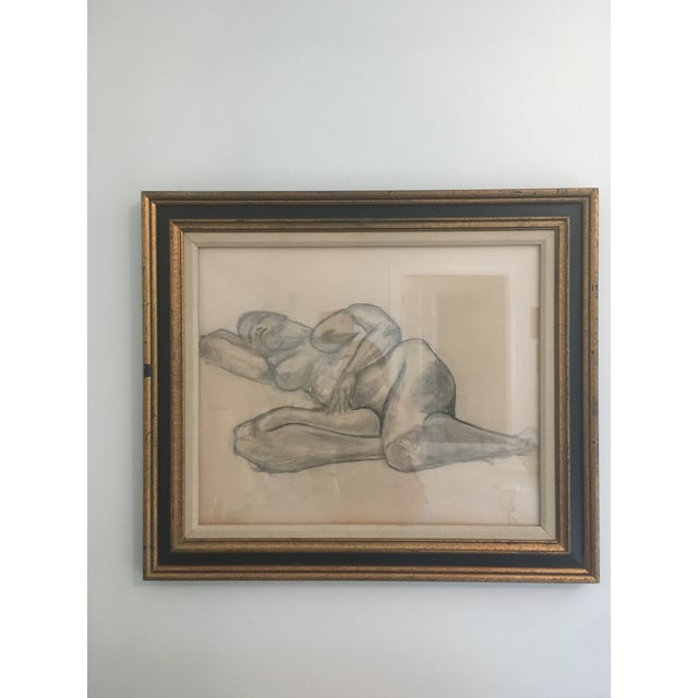 """Vintage Large Mid-Century Art Deco Abstract """"Laying Woman Figure Nude"""" Pencil Drawing For Sale - Image 9 of 9"""