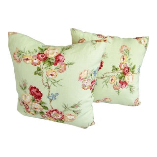 Lee Jofa Floral Print Pale Green Pillows - A Pair For Sale