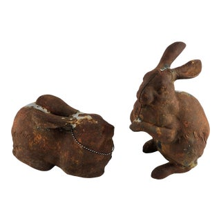 Vintage Cast Iron Hare Sitting Door Stop Garden Statues- a Pair For Sale