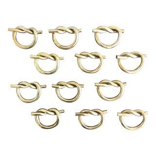 Vintage Solid Brass Pretzel Knot Napkin Rings - Set of 12 For Sale