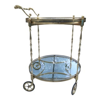 Vintage French Brass Bar Cart by Maison Jansen For Sale