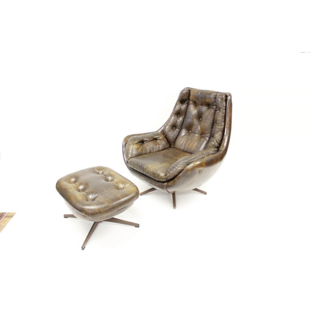 Carter Brothers Mid Century Modern Carter Lounge Chair and Ottoman For Sale - Image 4 of 13