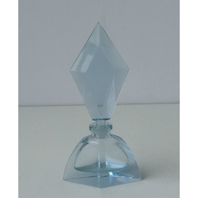 Czechoslovakian Light Blue Faceted Perfume Bottle - Image 2 of 11