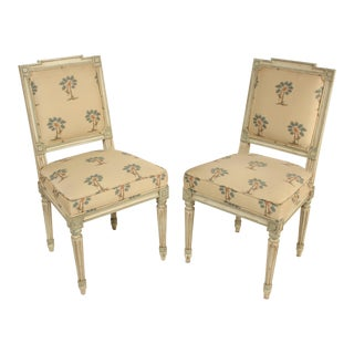 Louis XVI Style Painted Side Chairs - a Pair For Sale