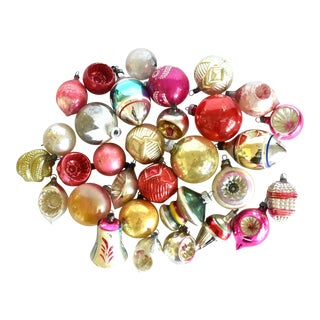 Mid-Century Glass Christmas Ornaments - Set of 32 For Sale