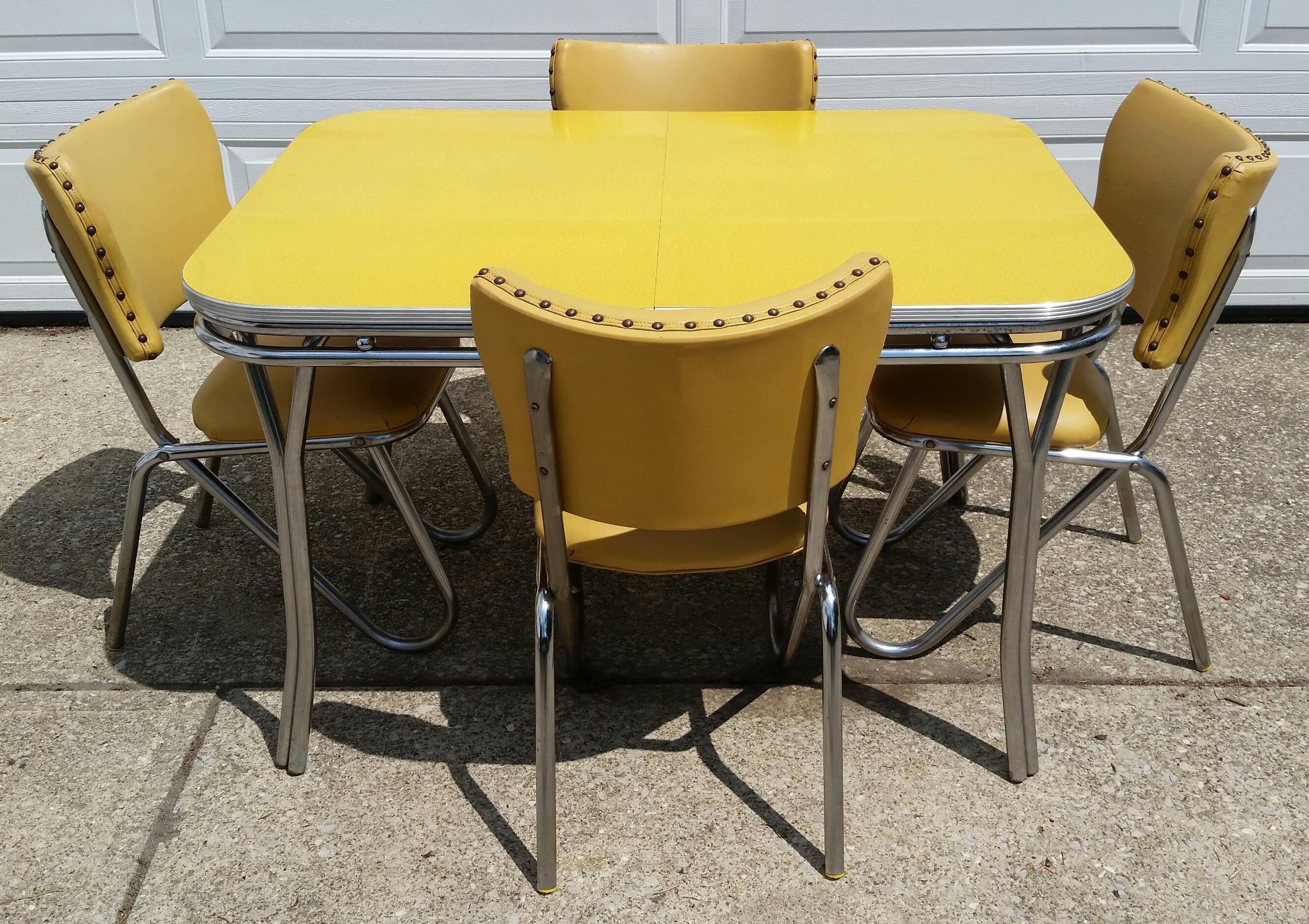 Vintage Midcentury Retro Yellow Dining Set   Image 4 Of 11