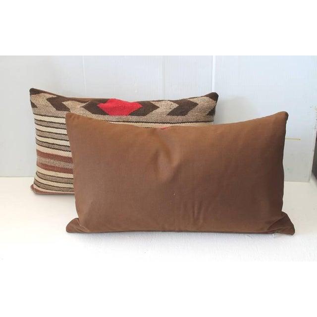 Navajo Fantastic Pair of Navajo Saddle Blanket Weaving Pillows For Sale - Image 3 of 5