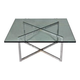 Chrome X Base Coffee Table With Glass Top in the Style of Milo Baughman For Sale