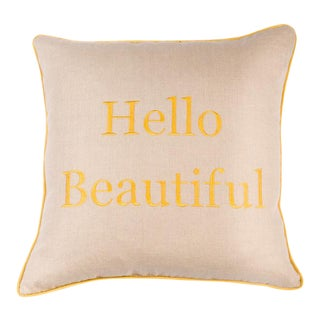 Hello Beautiful Embroidered Pillow